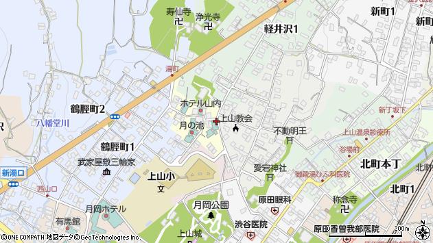 山形県上山市湯町周辺の地図