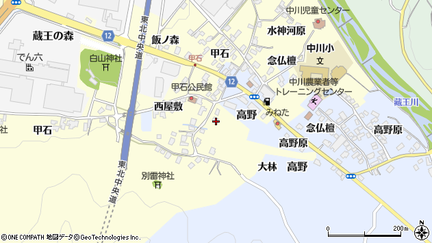 山形県上山市高野飯ノ森1周辺の地図