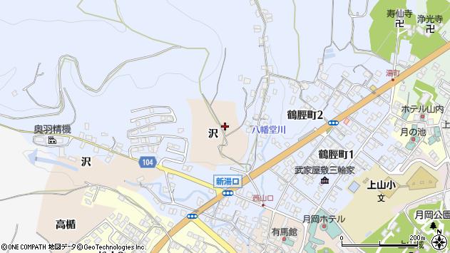 山形県上山市北町沢周辺の地図