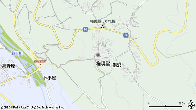 山形県上山市権現堂27周辺の地図