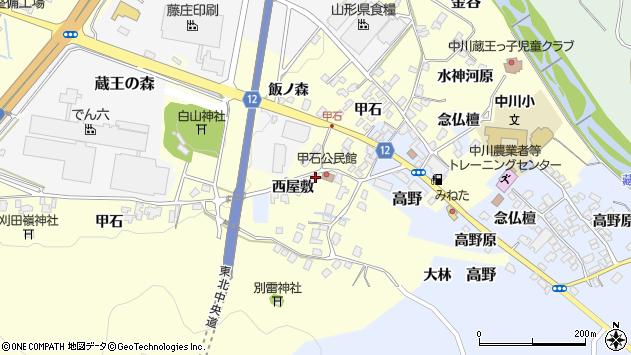 山形県上山市金谷西屋敷502周辺の地図