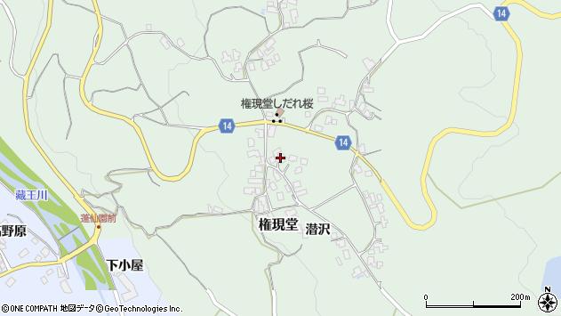 山形県上山市権現堂周辺の地図