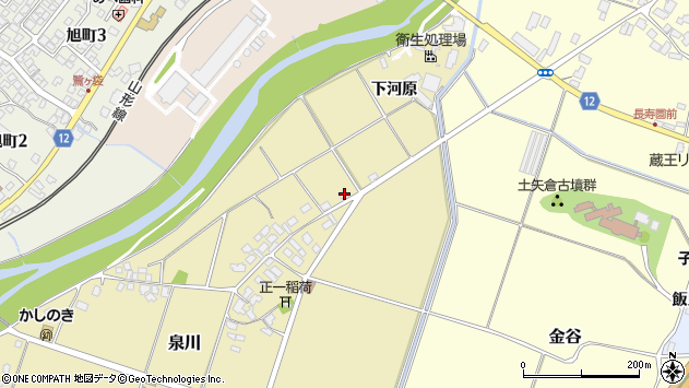 山形県上山市泉川屋敷下周辺の地図