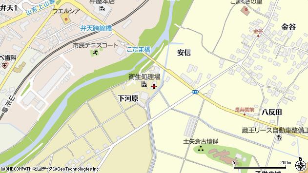 山形県上山市泉川新兵衛川周辺の地図