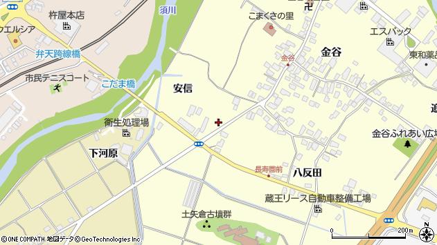 山形県上山市金谷藤木周辺の地図