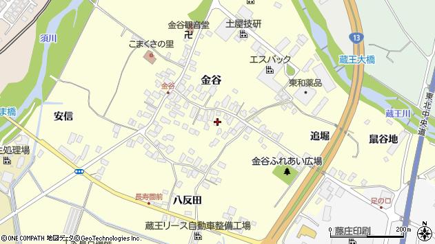 山形県上山市金谷36周辺の地図