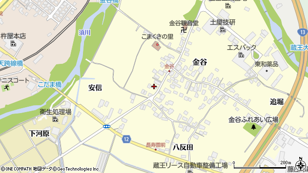 山形県上山市金谷4周辺の地図