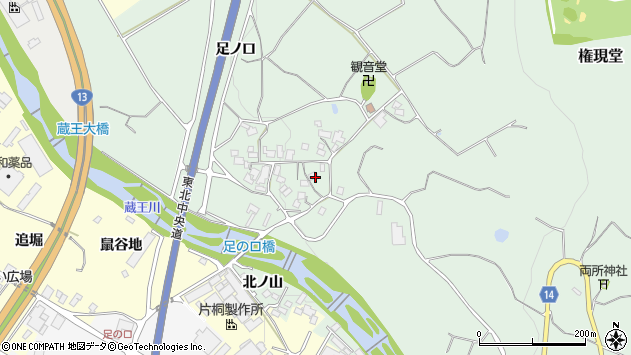 山形県上山市権現堂380周辺の地図