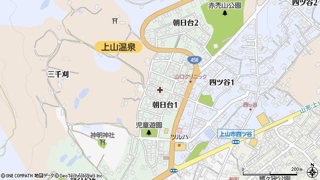 山形県上山市朝日台周辺の地図