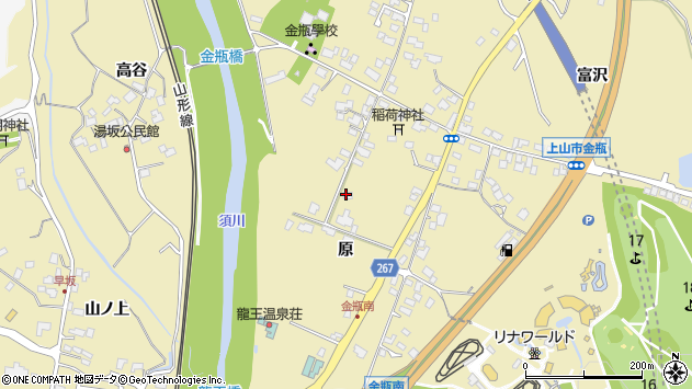 山形県上山市金瓶原66周辺の地図
