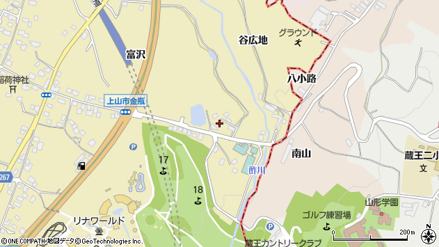 山形県上山市金瓶冨沢133周辺の地図