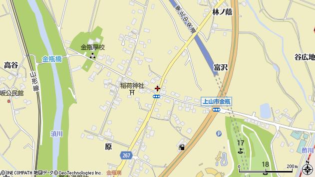 山形県上山市金瓶冨沢672周辺の地図