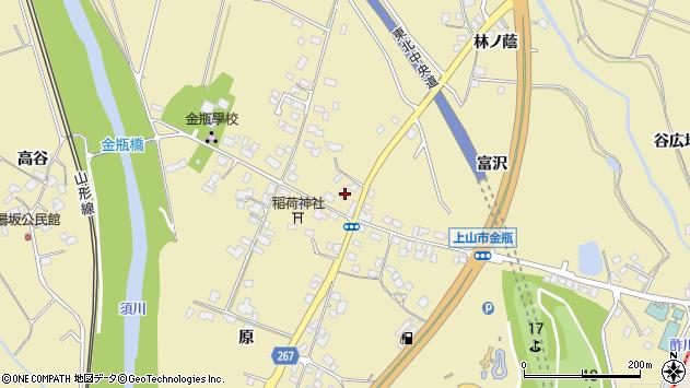 山形県上山市金瓶冨沢周辺の地図