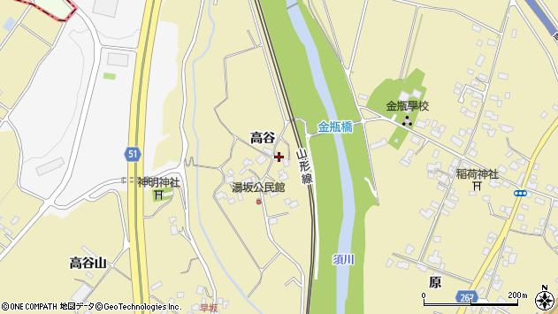 山形県上山市金瓶高谷114周辺の地図