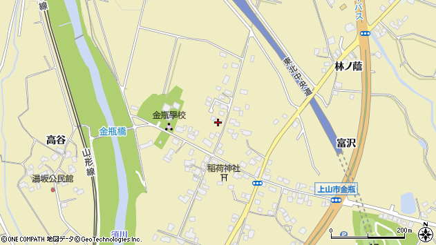山形県上山市金瓶北周辺の地図