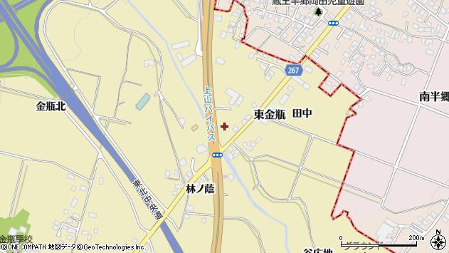 山形県上山市金瓶石田周辺の地図