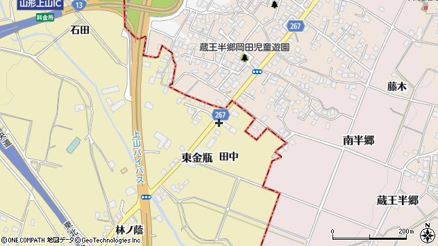 山形県上山市金瓶田中46周辺の地図