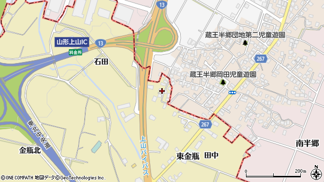 山形県上山市金瓶田中11周辺の地図