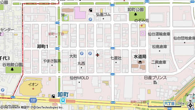 宮城県仙台市若林区卸町2丁目周辺の地図