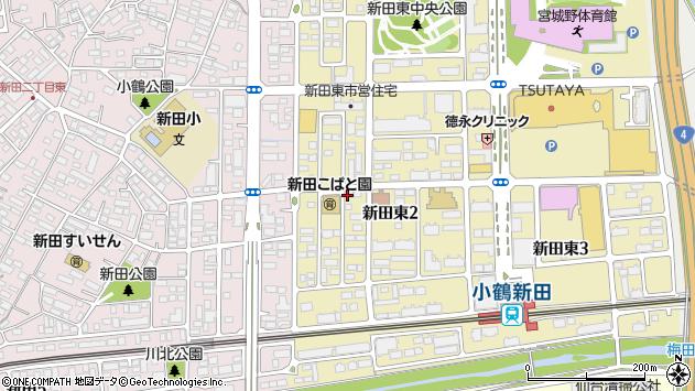 宮城県仙台市宮城野区新田東2丁目周辺の地図