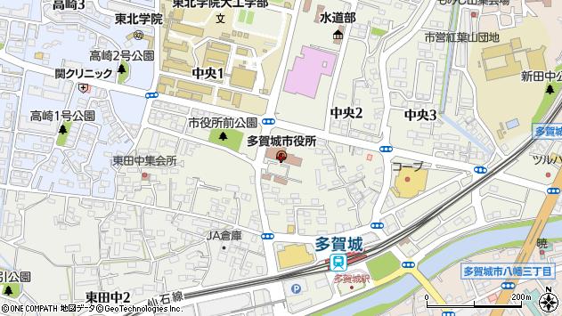 宮城県多賀城市周辺の地図