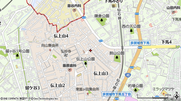 宮城県多賀城市伝上山3丁目周辺の地図