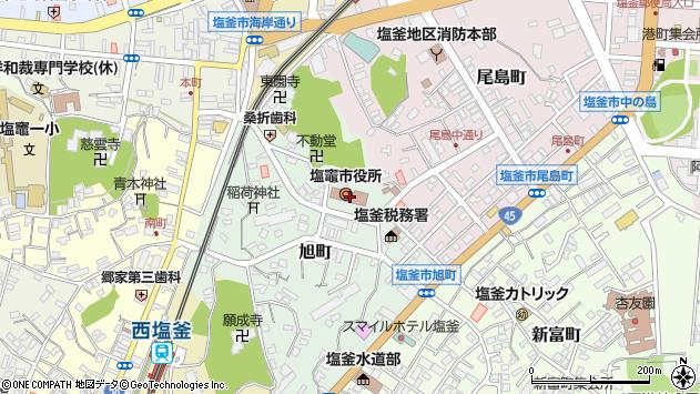 宮城県塩竈市周辺の地図
