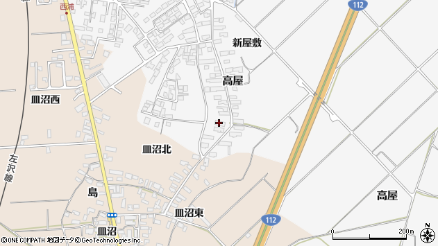 山形県寒河江市高屋西浦131周辺の地図