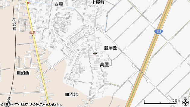 山形県寒河江市高屋西浦156周辺の地図
