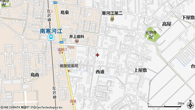 山形県寒河江市高屋西浦93周辺の地図