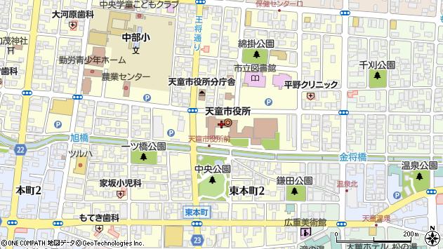 山形県天童市周辺の地図