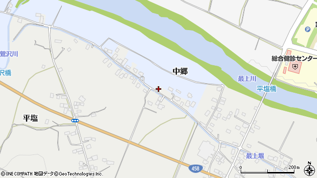 山形県寒河江市中郷沢向93周辺の地図