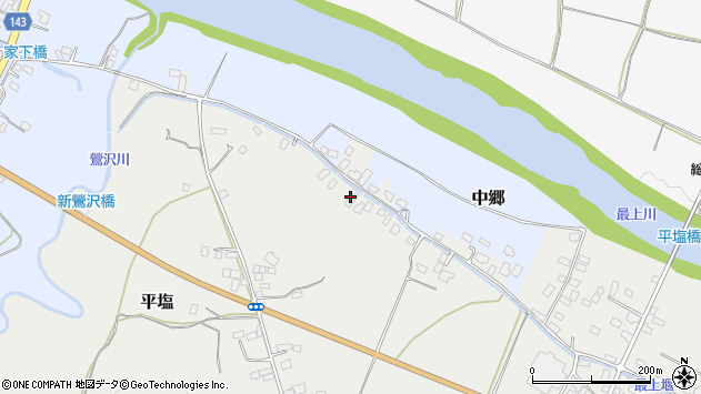 山形県寒河江市平塩143周辺の地図