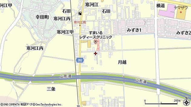 山形県寒河江市寒河江月越周辺の地図