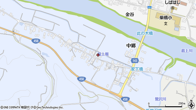 山形県寒河江市中郷215周辺の地図