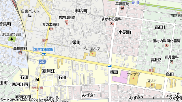 山形県寒河江市栄町980周辺の地図