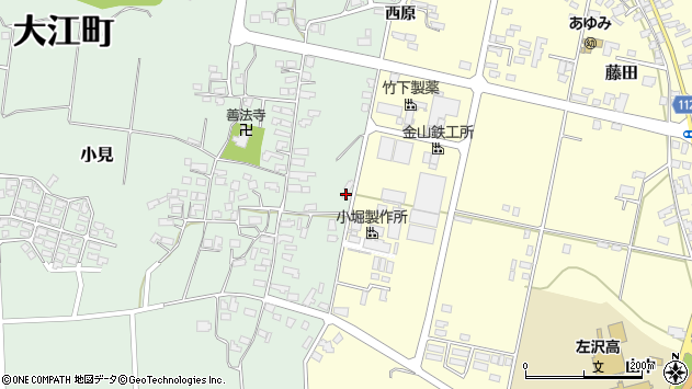山形県西村山郡大江町小見77周辺の地図