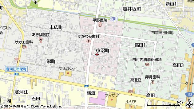 山形県寒河江市小沼町周辺の地図
