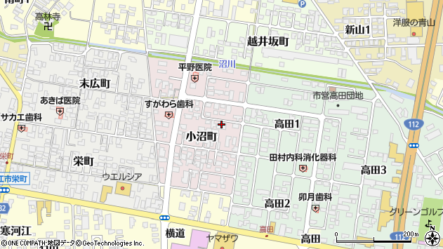 山形県寒河江市小沼町159周辺の地図