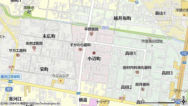 山形県寒河江市小沼町156周辺の地図