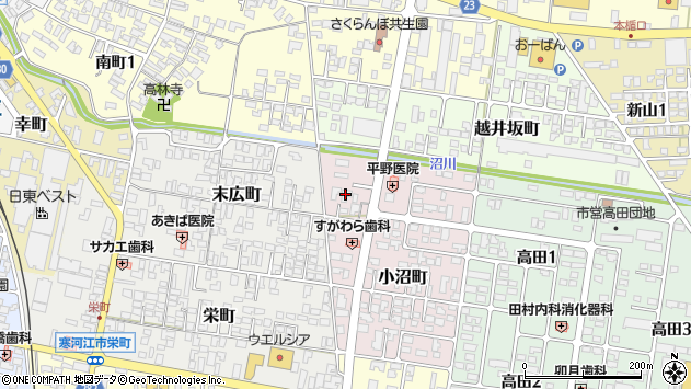 山形県寒河江市小沼町52周辺の地図