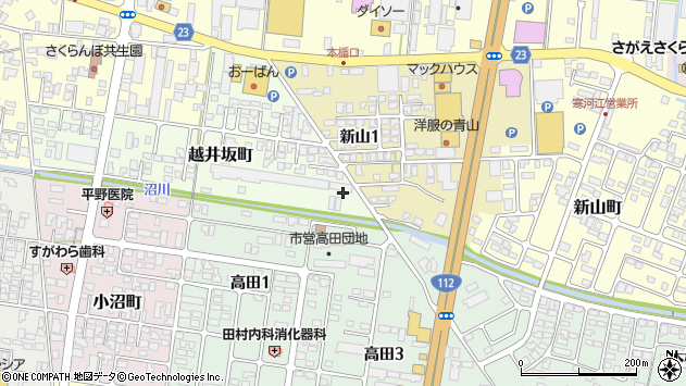 山形県寒河江市越井坂町100周辺の地図
