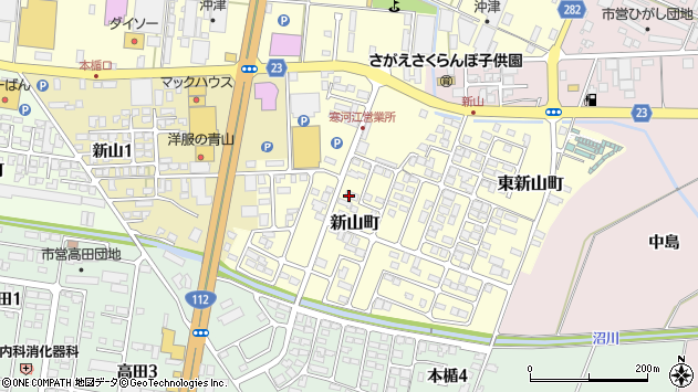 山形県寒河江市新山町6周辺の地図