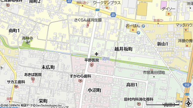 山形県寒河江市越井坂町42周辺の地図
