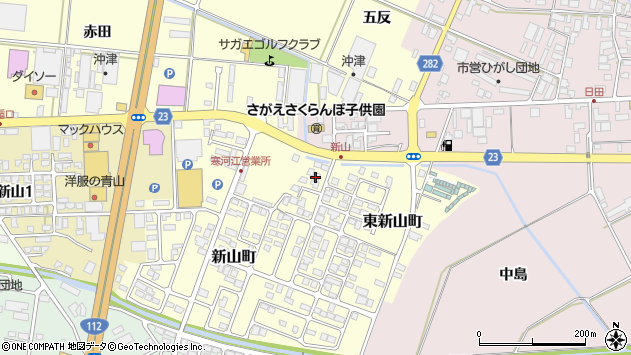 山形県寒河江市東新山町195周辺の地図