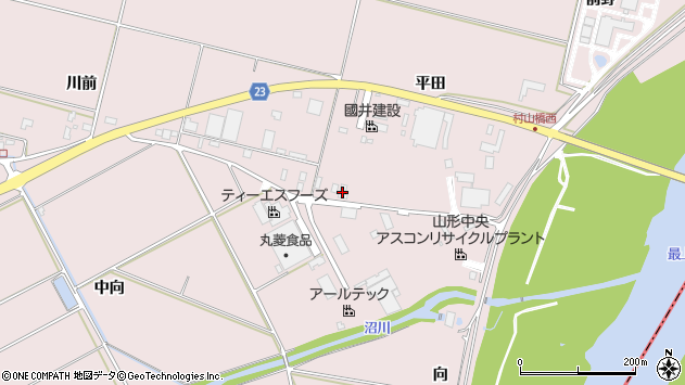 山形県寒河江市日田平田207周辺の地図