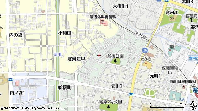 山形県寒河江市船橋町8周辺の地図