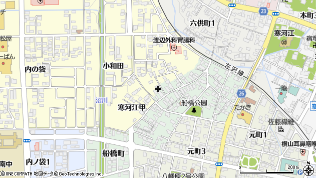 山形県寒河江市船橋町9周辺の地図