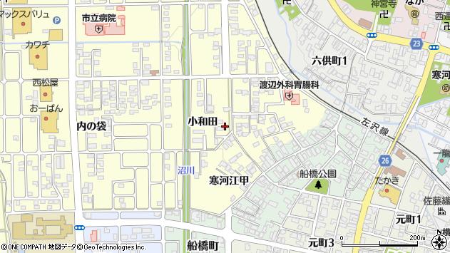 山形県寒河江市寒河江小和田44周辺の地図