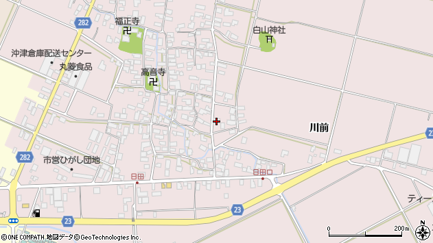 山形県寒河江市日田楯越409周辺の地図